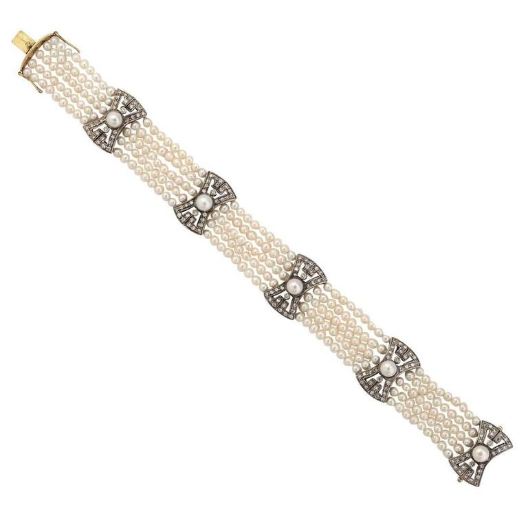Five Strand Pearl Diamond Gold Bracelet