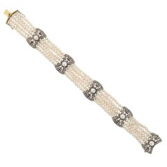 Five Strand Pearl Diamond Gold Bracelet, 20th century