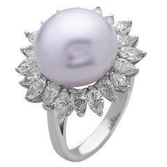 Stunning Flower Shape South Sea Pearl Diamond Gold Ring