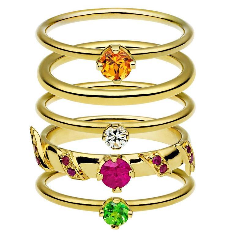 Ana De Costa Yellow Gold Round Ruby Tsavorite Garnet Diamond Stacking Rings For Sale