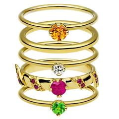 Ana De Costa Yellow Gold Round Ruby Tsavorite Garnet Diamond Stacking Rings