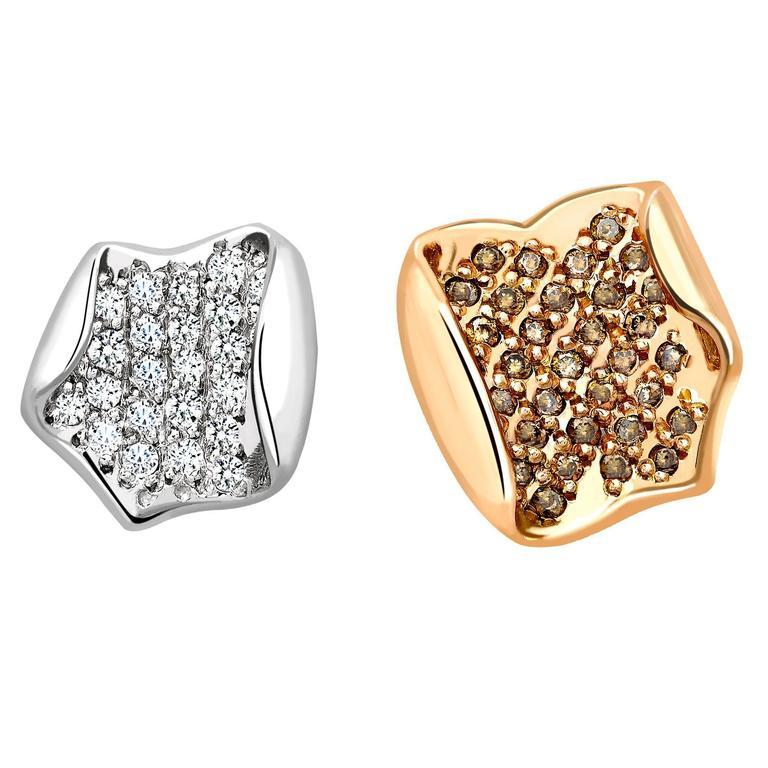 Ana De Costa Rose Gold Platinum White Cognac Diamond Lotus Petal Stud Earrings
