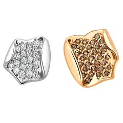 Ana de Cost asymmetric lotus petal studs with WHITE DIAMONDS and COGNAC DIAMONDS
