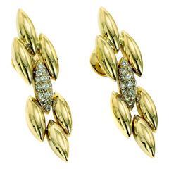 Cartier Gentiane Diamond Gold Dangle Earrings