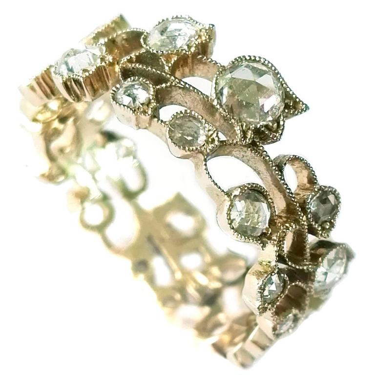 Dalben Lily of the Valley Diamond Gold Band Ring 1