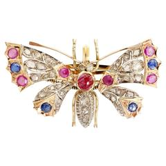Edwardian Sapphire and Diamond Gold Butterfly with Articulated Wings Brooch