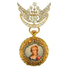 Tiffany & Co. Art Nouveau Enamel Diamond Multicolor Gold Lapel Watch