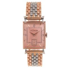 LeCoultre Steel and Rose Gold Wrist Watch 1940s