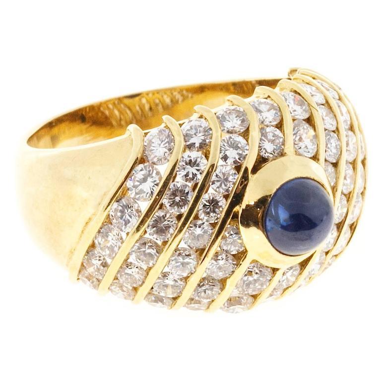 Sapphire Cabochon Diamond Gold Dome Ring For Sale