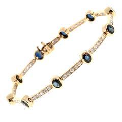 Round Sapphire Diamond Gold Bracelet