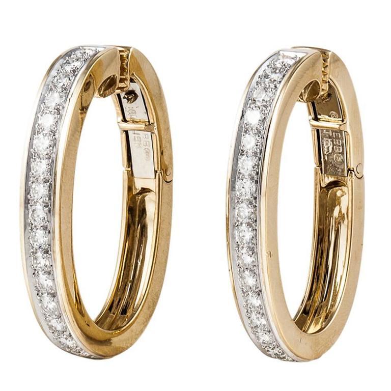 David Webb Diamond Gold Hoop Earrings 1