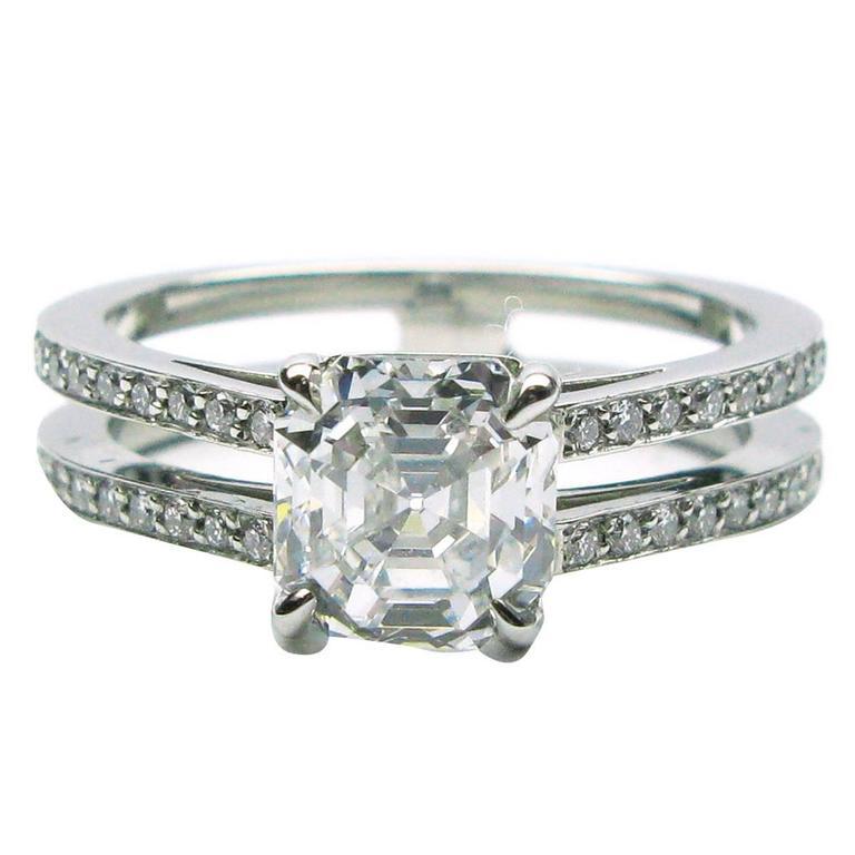 1.57 Carat GIA E VVS2 Antique Asscher Diamond Platinum Ring