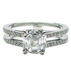 1.57 Carat GIA E VVS2 Antique Asscher Diamond Platinum Ring