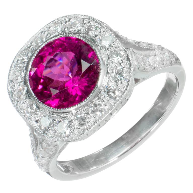 Pink Red Rubellite Tourmaline Diamond Halo Platinum Ring For Sale At