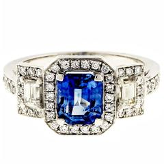 Sapphire and Diamond Triple Halo Engagement Ring