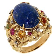 Blue Lapis Yellow Gold Dome Ring 1960s Diamonds Sapphires Rubies
