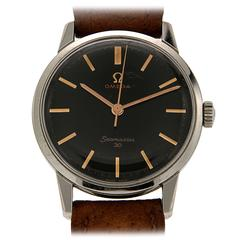 Omega Stainless Steel Black Dial Wristwatch