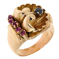 1940s Red Rubys Blue Sapphires Rose Gold Ring