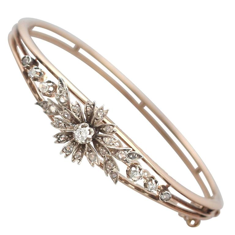 0.62Ct Diamond & 18k Rose Gold, Silver Set Bangle - Antique French Circa 1900 1