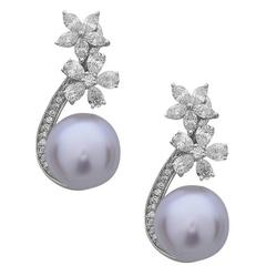 Stunning Floral South Sea Pearl Diamond Gold Dangle Earrings