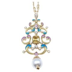 Tiffany & Co. Pearl Enamel Yellow Sapphire Diamond Gold Necklace