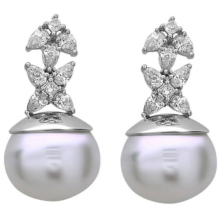 Adorable South Sea Pearl Diamond Gold Drop Earrings