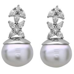 Adorable South Sea Pearl Diamond Gold Drop Earrings