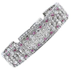 Art Deco Diamond Ruby Platinum Bracelet