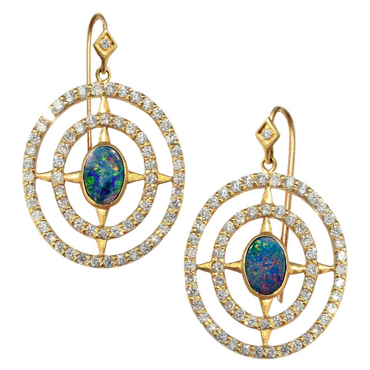 Lauren harper boulder opal diamond matte gold axis earrings at 1stdibs arubaitofo Image collections