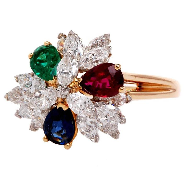 front row ring karat m sapphire diamond emerald triple gold products ruby yellow