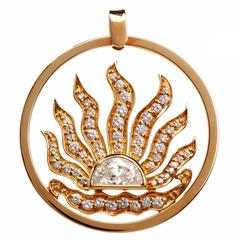 1970's Large  Sunburst Diamond Gold Pendant