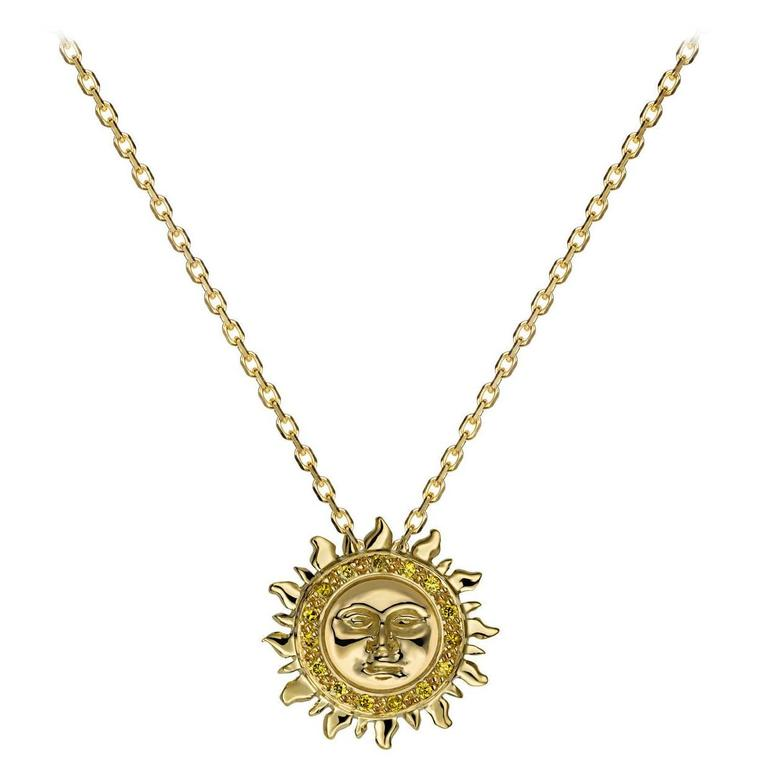 Ana De Costa Gold Yellow Diamond Sun Circular Pendant For Sale
