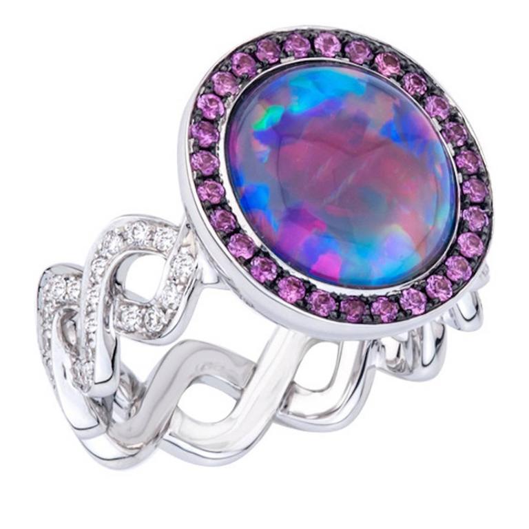 Black Opal Pink Sapphires Diamonds Gold Twisting Vine Ring  1