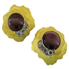 1970 Andrew Grima Ruby Diamond Gold Earrings