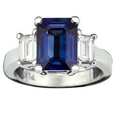 3.08 Carat Emerald-Cut Sapphire Diamond Platinum Ring