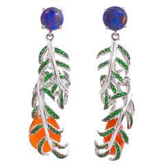 Opal Orange Carnelian Tsavorite Garnet Gold Hanging Vine Earrings