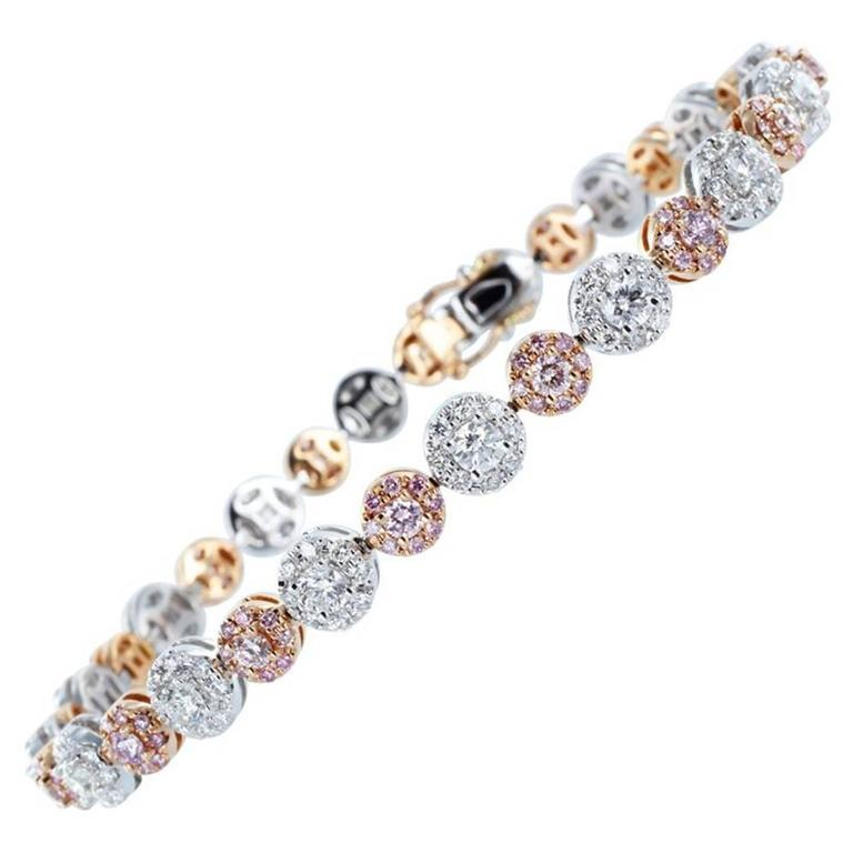 4.02ctw Pink & Colorless Diamond Bracelet