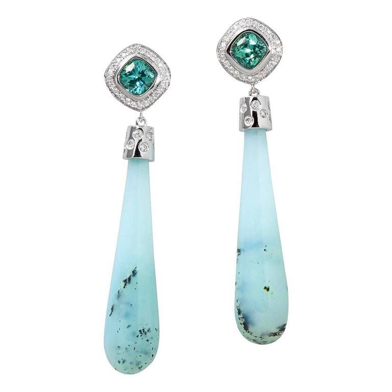 Contemporary Peruvian Opal, Tourmaline and Diamond Earrings 1