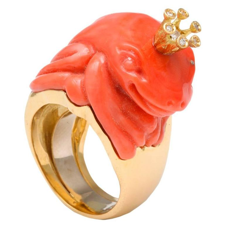 Michael Kanners Coral Diamond Gold Crowned Frog Ring For Sale