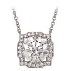 Harry Winston Diamond Platinum Solitaire Pendant Necklace