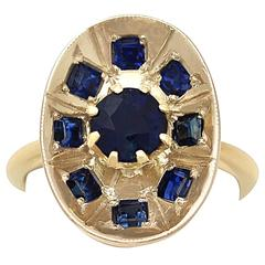 1950s Sapphire and Yellow Gold Cocktail Ring