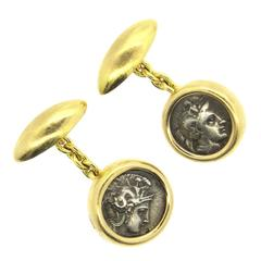 Bulgari Gold Ancient Coin Lucania  Thurion Calabria  Tarentum  Cufflinks