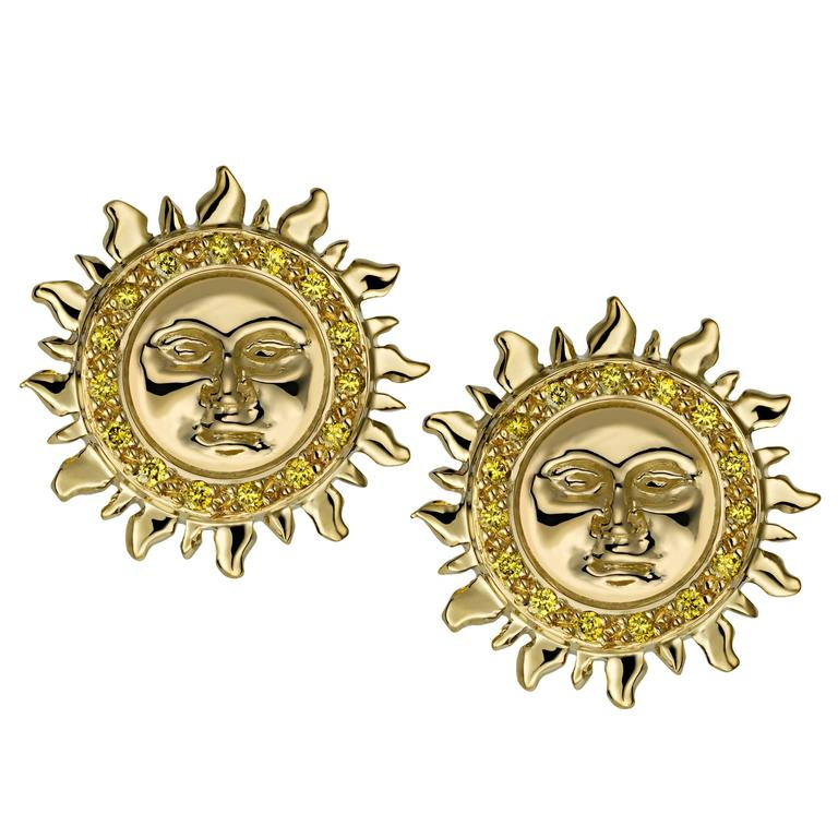 Ana De Costa Yellow Gold Round Diamond Sun Circular Stud Earrings For