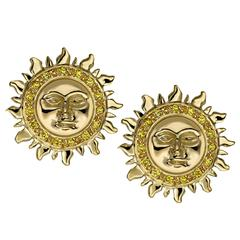 Ana De Costa Yellow Gold Round Yellow Diamond Sun Circular Stud Earrings