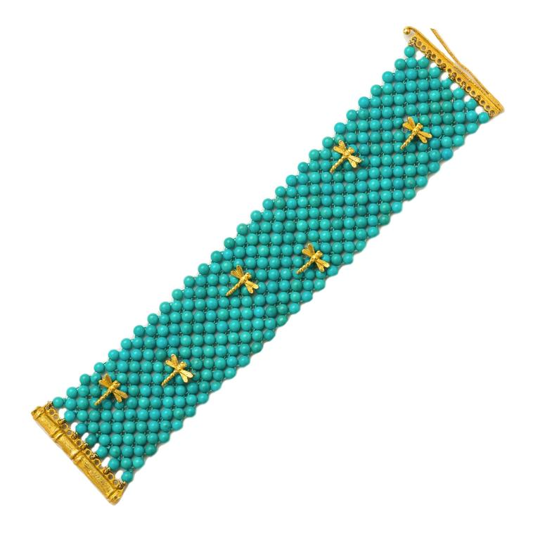 Turquoise Multi-strand Beaded Gold Dragonfly Bracelet