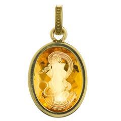 Citrine Intaglio Gold Aphrodite Pendant