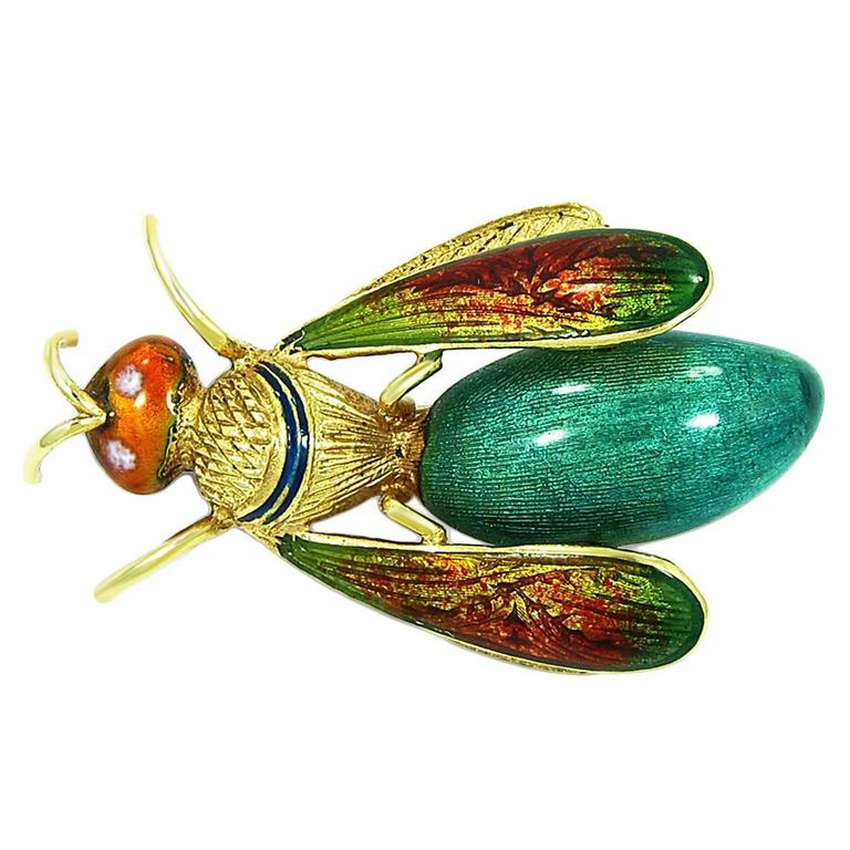Enamel Gold Bug Brooch 1