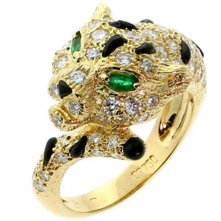Piaget Panthere Emerald Onyx Diamond Gold Ring 1
