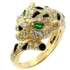 Piaget Panthere Emerald Onyx Diamond Gold Ring