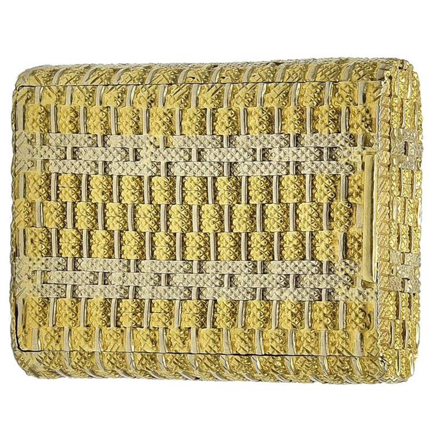 Two-Color Woven Gold Pill Box